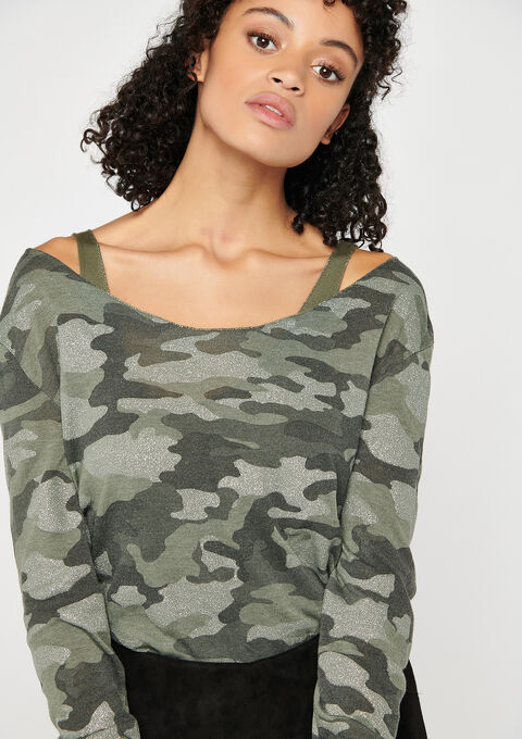 T-shirt met camouflage print - KHAKI GREEK - 02400084_4309