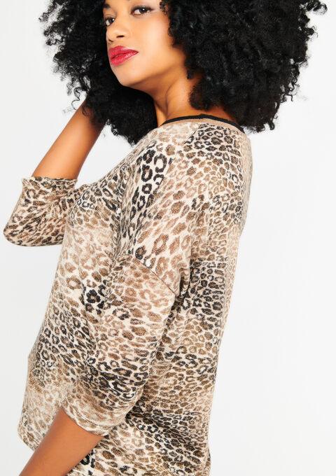 Sweat met luipaardprint - BEIGE STONE - 03001272_4006