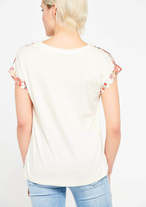 T-shirt met bloemenprint - PINK SPRINGY - 02300236_5810