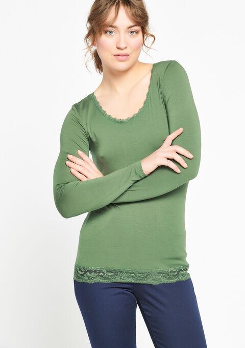 T-shirt met lange mouwen en kant - KHAKI DARKY - 933511