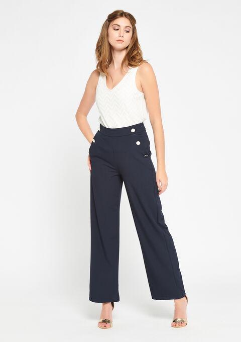 Ongekend Wijde broek met hoge taille, knopen - LolaLiza FF-91