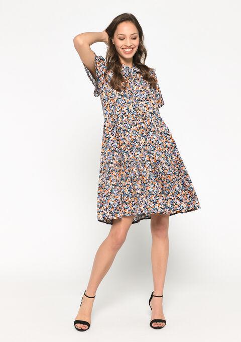 Babydoll jurk met bloemenprint - LILAC MOHAIR - 08102181_6004