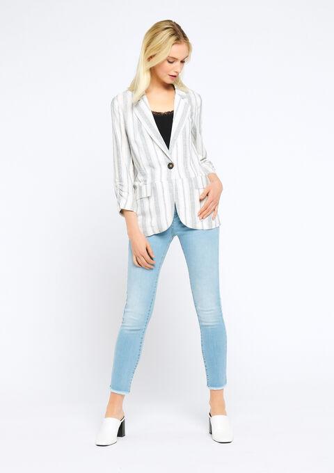 Blazer en lin avec rayures - WHITE ALYSSUM - 09100128_2502