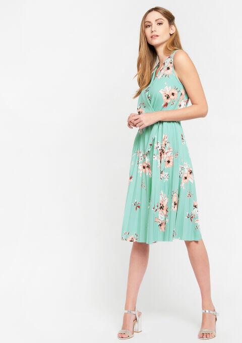 Cache-coeur jurk met bloemenprint - ALMOND GREEN - 08102139_1724