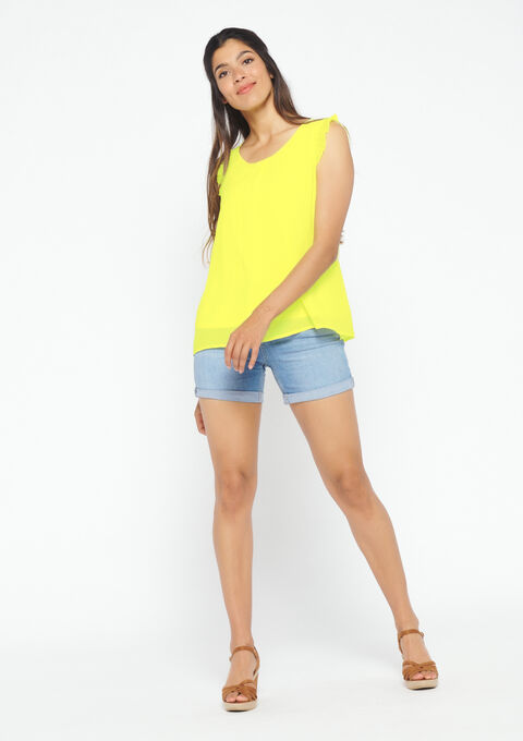Blouse in voile - YELLOW ACID - 05700257_5005