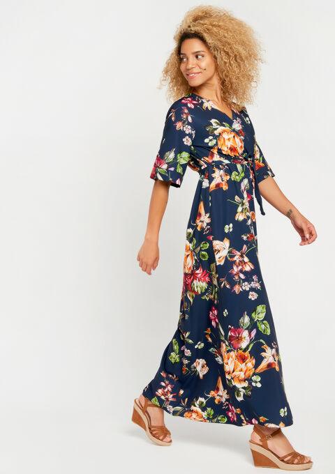 Lange bloemenjurk met kimono-mouwen - NAVY BLUE - 08600171_1651