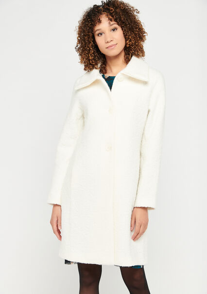 Bouclette coat with buttons - OFFWHITE - 23000220_1001