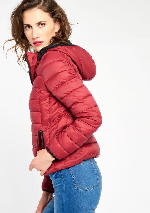 Korte gewatteerde jas met kap - RED RHUBARB - 10000706_1460