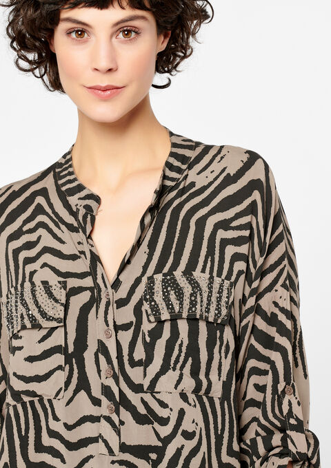 Blouse in voile met zebraprint - LIGHT TAUPE - 05700297_1020