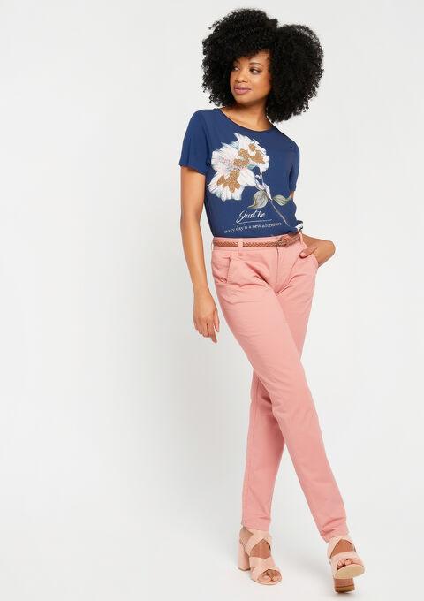T-shirt met korte mouwen en bloemenprint - BLACK IRIS - 02300160_1667