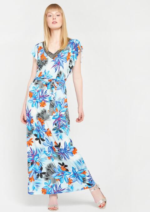 Lange jurk met versierde kraag, print - ORANGE SUNSET - 08600138_5200