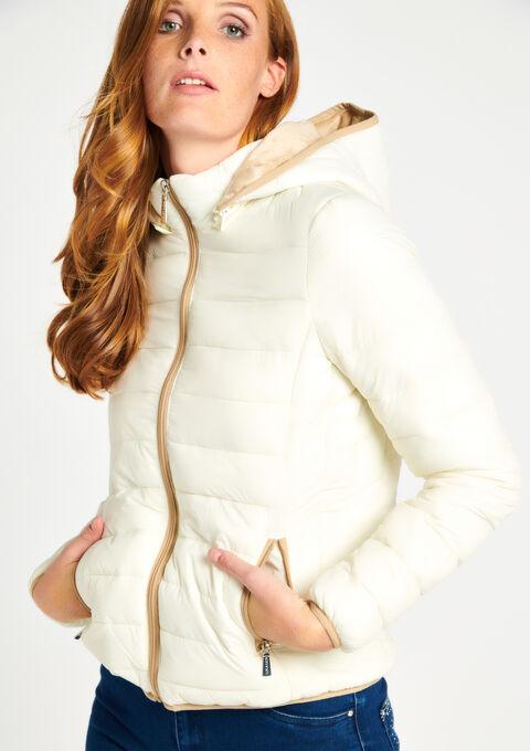 Korte gewatteerde jas met kap - EGRET WHITE - 10000706_2500