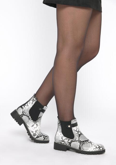 Platte laarzen - BLACK & WHITE MEL - 13100029_1084