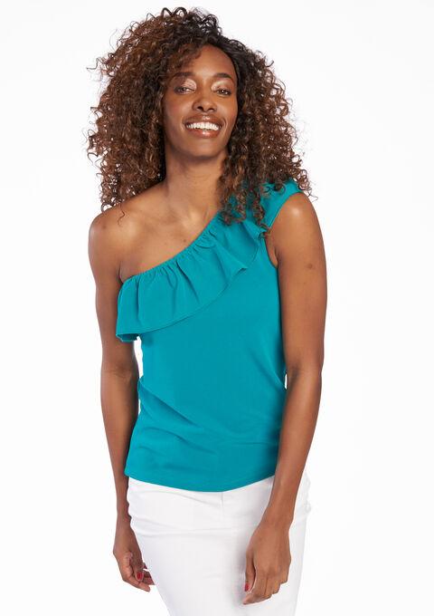 T-shirt met open schouder & ruche - GREEN FANFARE - 02005523_1794