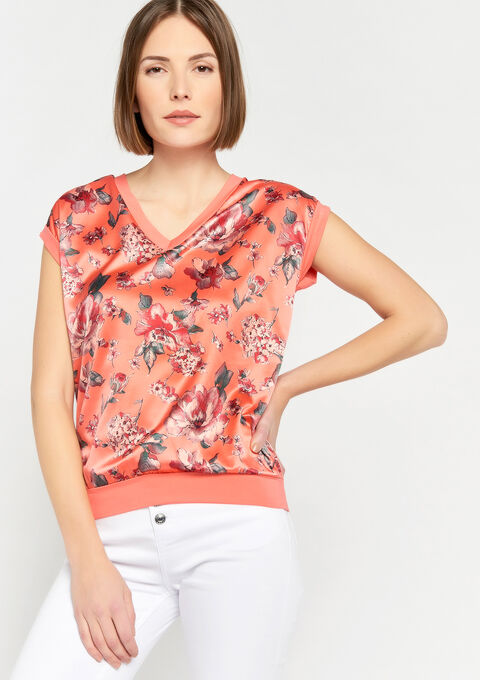 T-shirt met bloemenprint - PEACH BUD - 02300244_1963