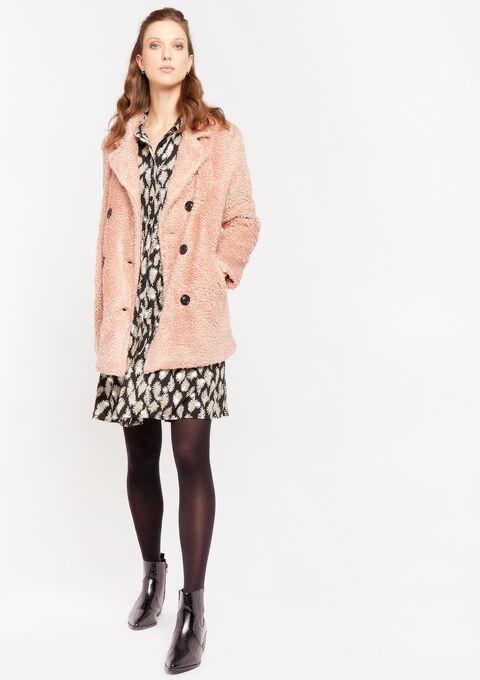 Faux-fur coat - DUSTY ROSE - 23000192_5725
