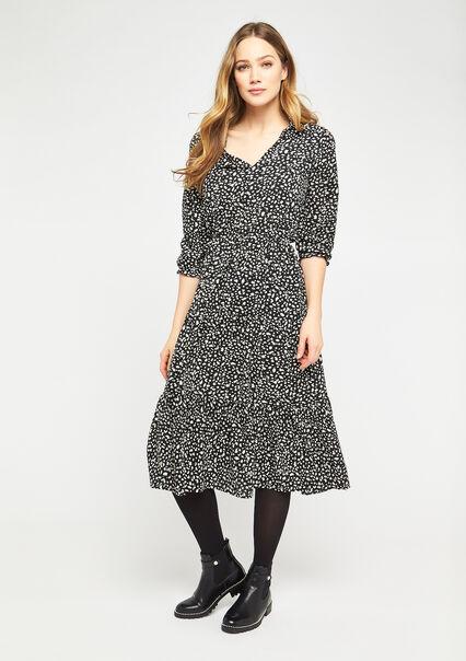 Leopard print dress with ruffles - BLACK - 08600996_1119
