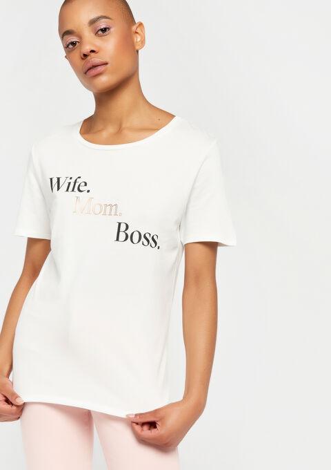 T-shirt met slogan - WHITE ALYSSUM - 02300276_2502