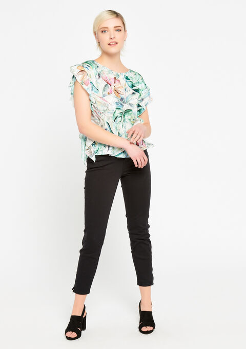 Blouse met ruches en bloemenprint - LIGHT AQUA - 05700409_1733