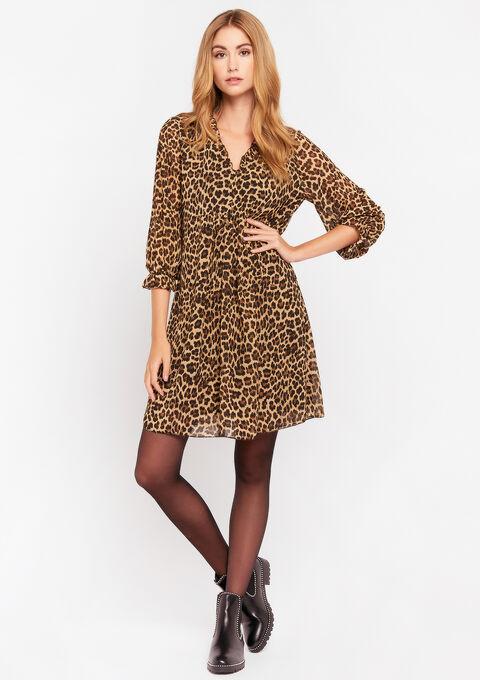 Robe babydoll imprimé léopard - BEIGE BIRCH - 08102010_1929