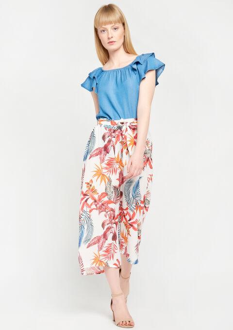 Wijde broek met bloemenprint - ORANGE SUNSET - 946566