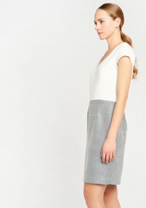 Jurk in tweed met v-hals - NAVY MILD - 08100372_2712