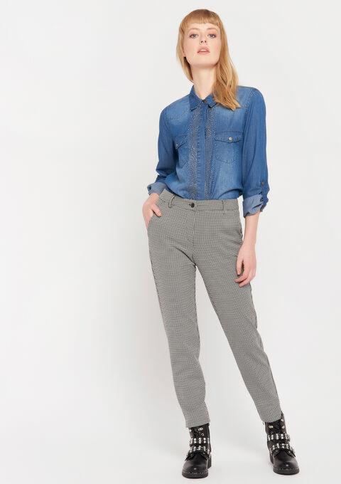 Pantalon imprimé pied-de-poule - BLACK - 06600152_1119