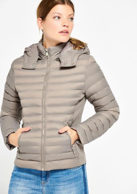 Gewatteerde jas met kap - LIGHT TAUPE - 23000113_1020