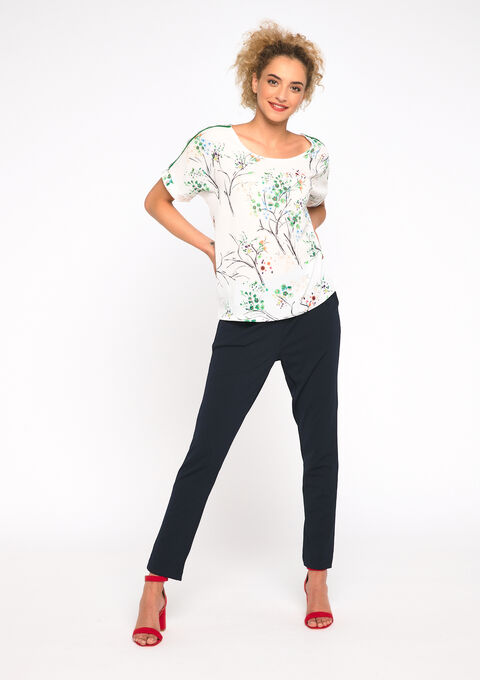 T-shirt 2 stoffen bloemenprint - WHITE ALYSSUM - 02300432_2502