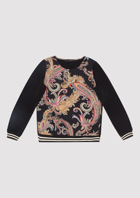 Sweater met paisley print - BLACK - 03001321_1119