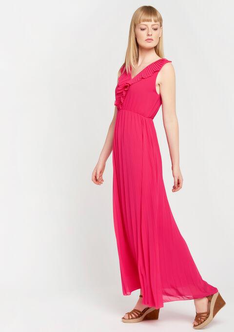 Effen maxi jurk plissé - JAZZY FUCHSIA - 08600629_1390