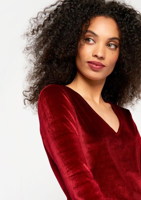 Fluwelen jurk met v-hals - RED RHUBARB - 08100456_1460