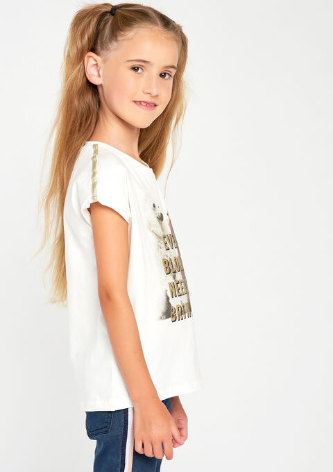 T-shirt met slogan & fotoprint - IVORY WHITE - 906503