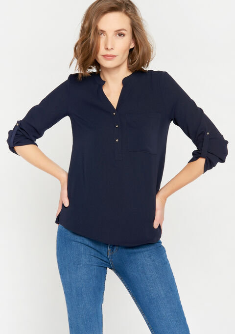 Blouse in voile - NAVY BLUE - 05701216_1651