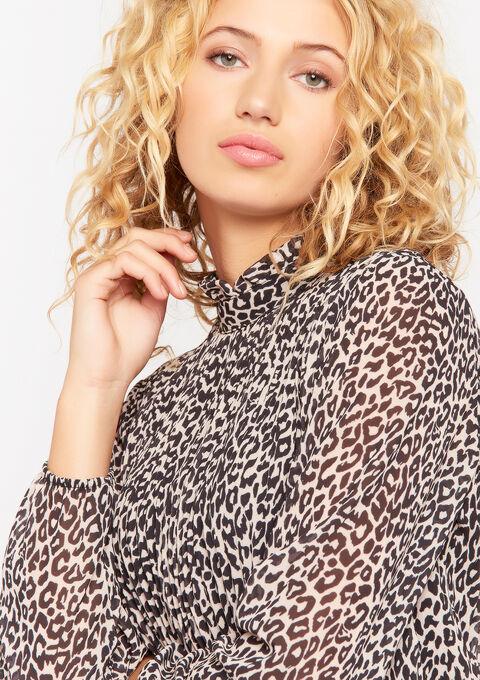 Plissé blouse met dierenprint - BEIGE BIRCH - 05701243_1929