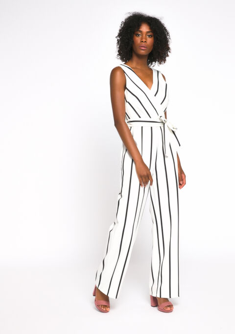 Jumpsuit with stripes - ECRU WHITE - 06003961_2506