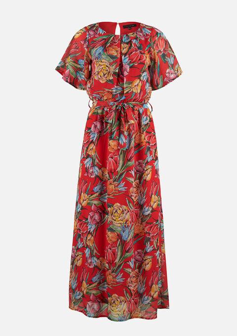 Maxi jurk met bloemenprint - RED VIBRANT - 08601139_5308