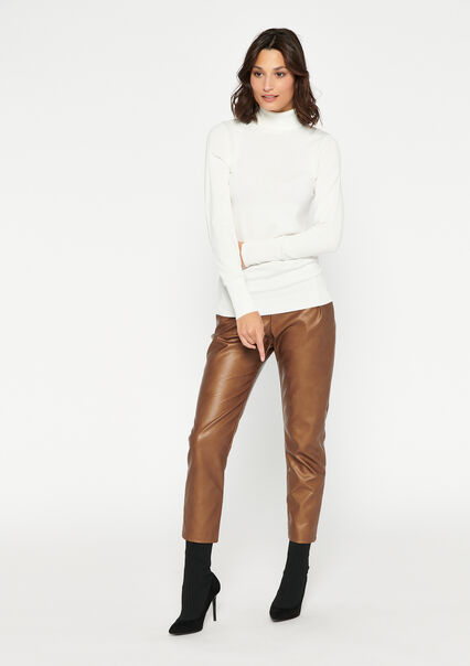 Rolled neck pullover - PEARL WHITE - 04005199_2511