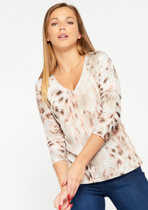 T-shirt met v-hals & pythonprint - PINK ROSEA - 02300149_5716