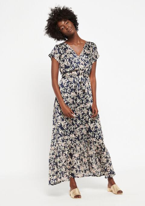 Lange jurk met bloemenprint - NAVY BLUE - 08600153_1651