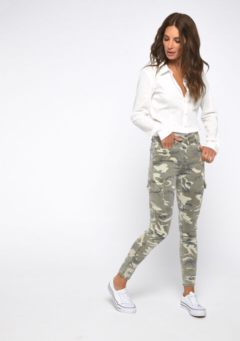 Cargo-broek met camouflage print - KHAKI ARMY - 06003950_4314