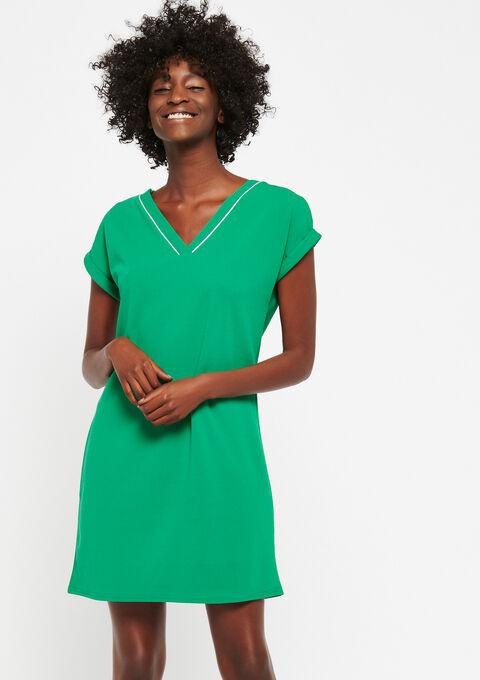 Rechte jurk met v-hals - GREEN GARDEN - 951201