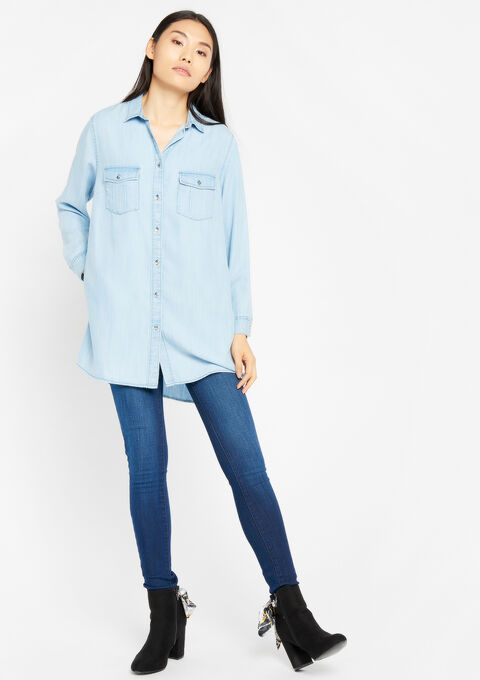 Lang overhemd in tencel - LIGHT BLUE JEANS - 05700304_91
