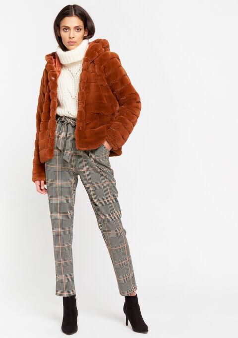 Korte mantel in imitatiebont - CARAMEL - 23000236_1953