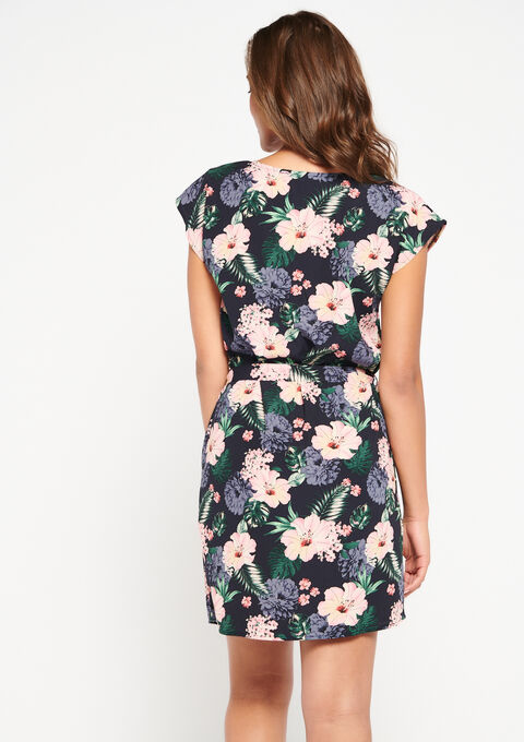Rechte jurk met macramé, print - NAVY MILD - 08101185_2712