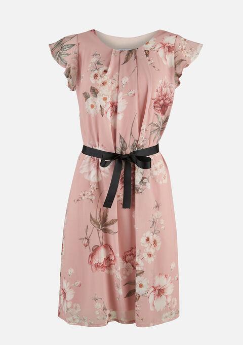 Midi jurk met bloemenprint en ceintuur - DUSTY ROSE - 08102180_5725