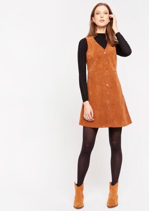 Mini jurk met ribfluweel - TOFFEE BROWN - 08102006_1154