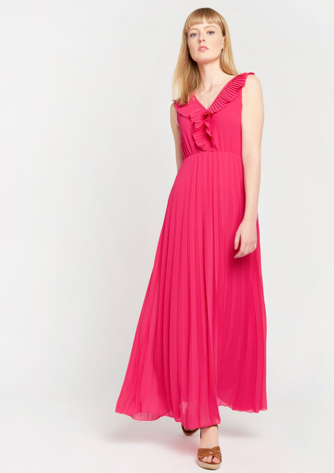 Maxi dress plain color pleated - BRIGHT FUCHSIA - 08600629_1390