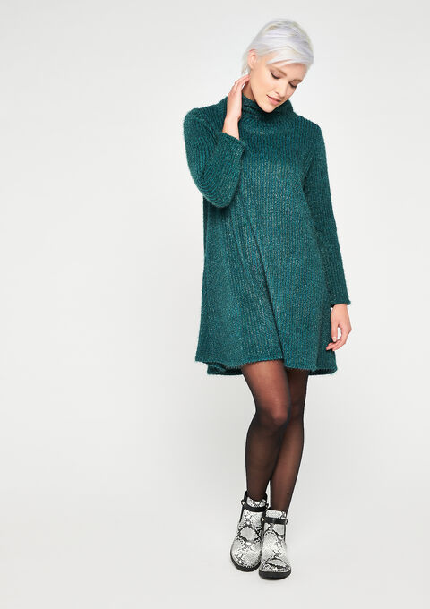 Roll neck sweater dress - EMERALD - 08101907_1740