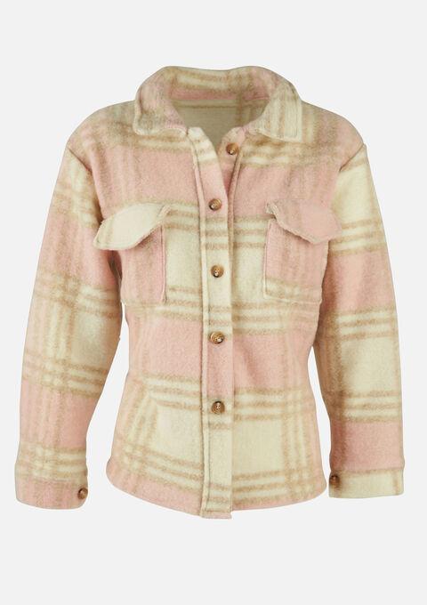 Korte duffelcoat met kraag en knopen - LIGHT PINK - 23000267_1303